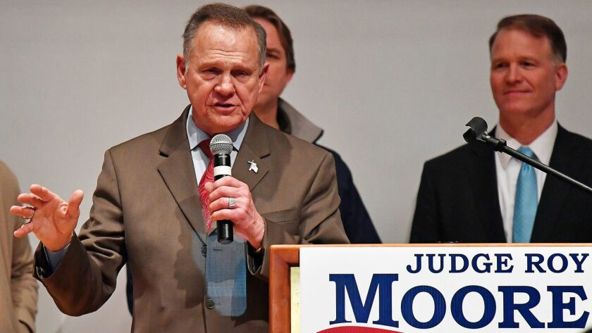 U.S. Senate candidate Roy Moore speaks at the end of an election-night watch party at the RSA activi