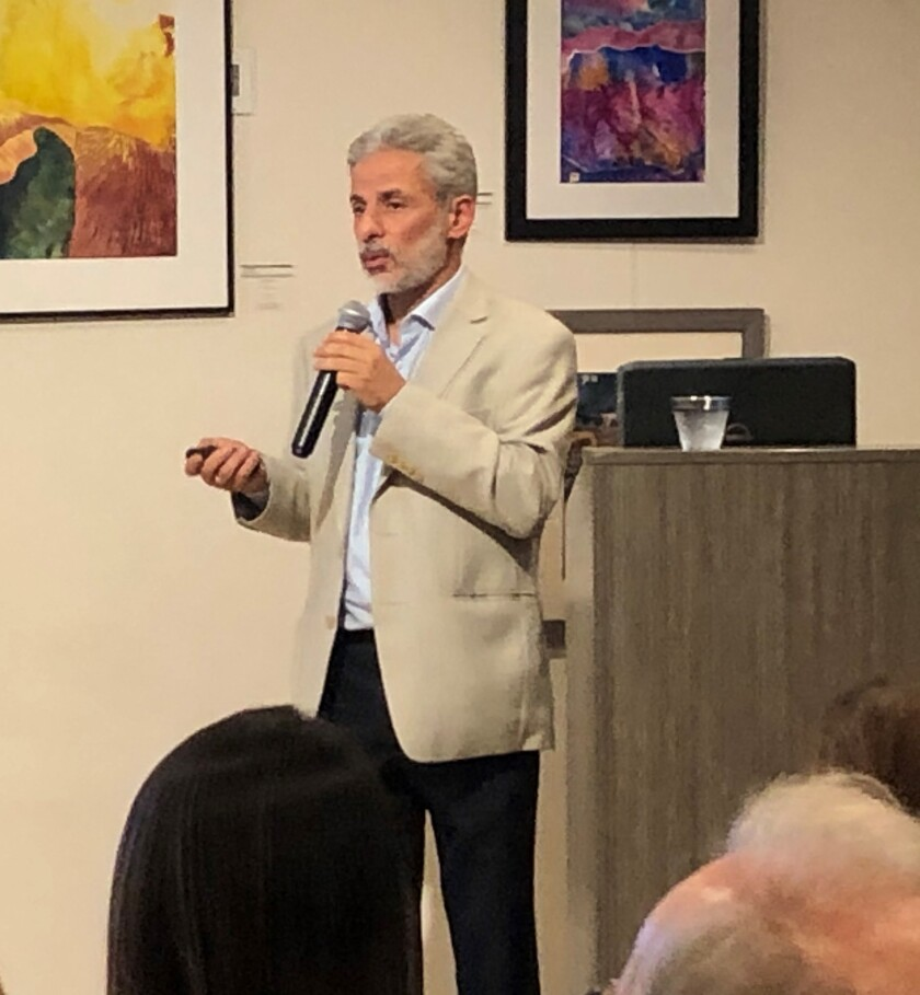 Dr. Wael Al-Delaimy, an epidemiologist at UC San Diego (pictured during a previous speaking engagement), addressed COVID-19 questions during a La Jolla Community Center online interview this month.