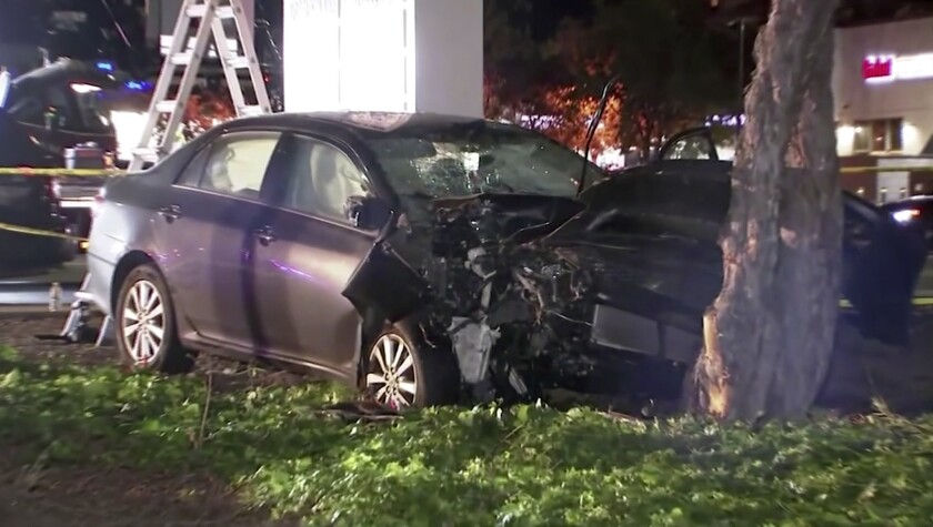 FILE - This April 23, 2019, file image from video provided by KGO-TV, shows the scene of a car crash