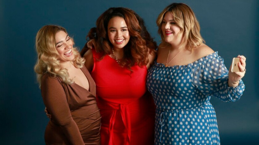Los Angeles residents Nadia Aboulhosn, left, Gabi Gregg and Nicolette Mason, who have strong social media followings, say there must be a larger representation of different plus-size women in the media and more fashion options for larger women.