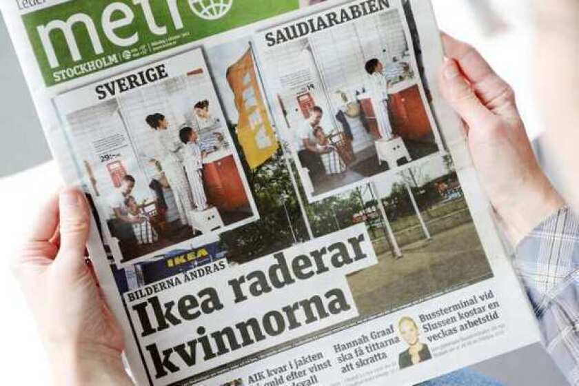 The Oct. 1 2012 issue of daily Metro fronted with two images from Swedish and Saudi Arabian IKEA catalogue for next year.