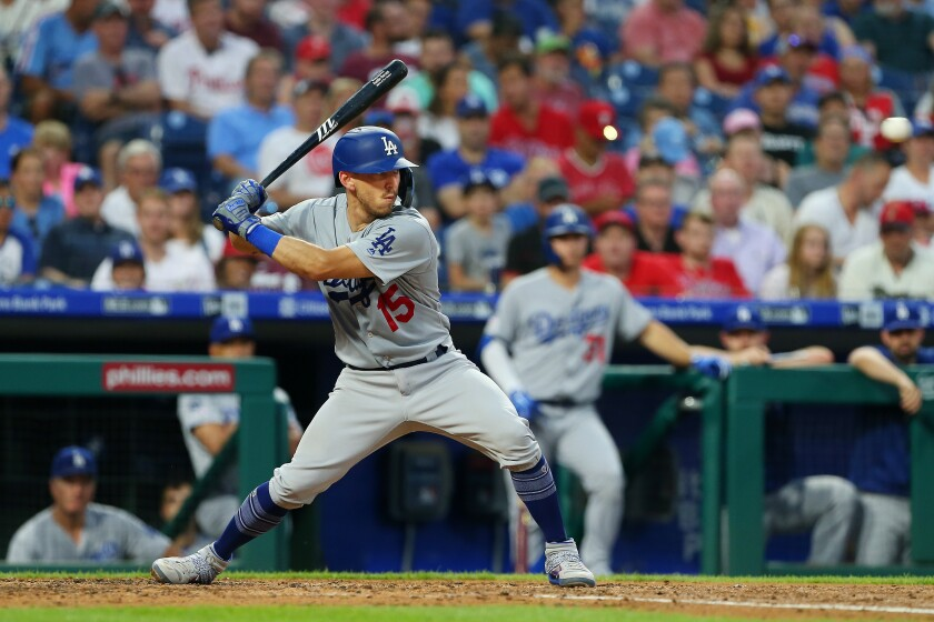 Dodgers catcher Austin Barnes bats during a game against the Philadelphia Phillies on July 16.