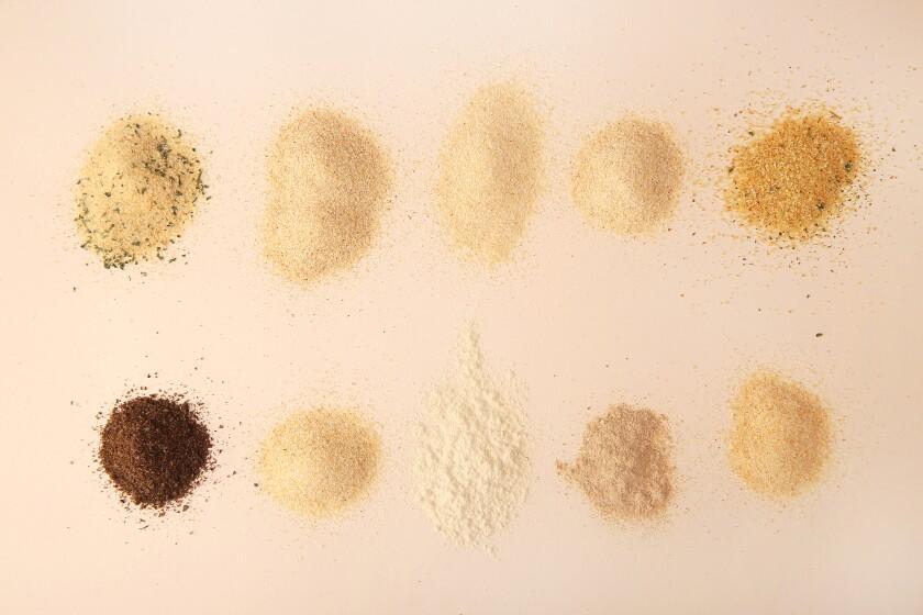 Ten varieties of garlic powder, of various shades and textures