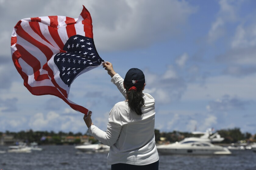 """Trump supporters took to the Intracoastal Waterway off Florida in June for a 'Trumptilla."""""""