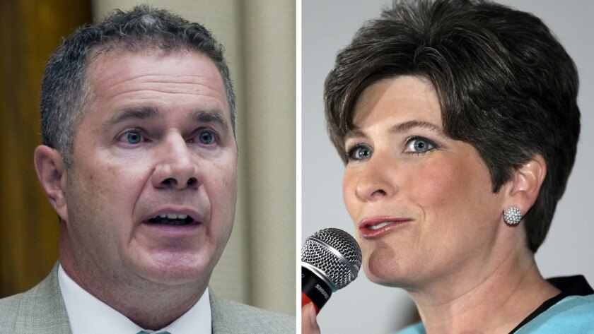 In a tight race, Rep. Bruce Braley (D-Iowa), pictured in June, has 49% according to CNN, while Iowa state Republican Sen. Joni Ernst, also seen in June, has 48%.
