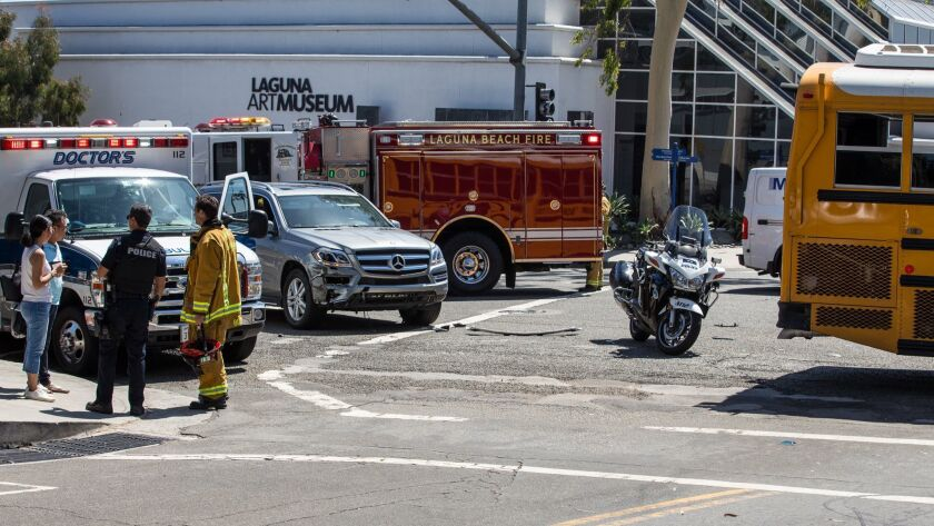 An accident involving a Laguna Beach school bus snarled traffic on Coast Hwy. in front of the Laguna