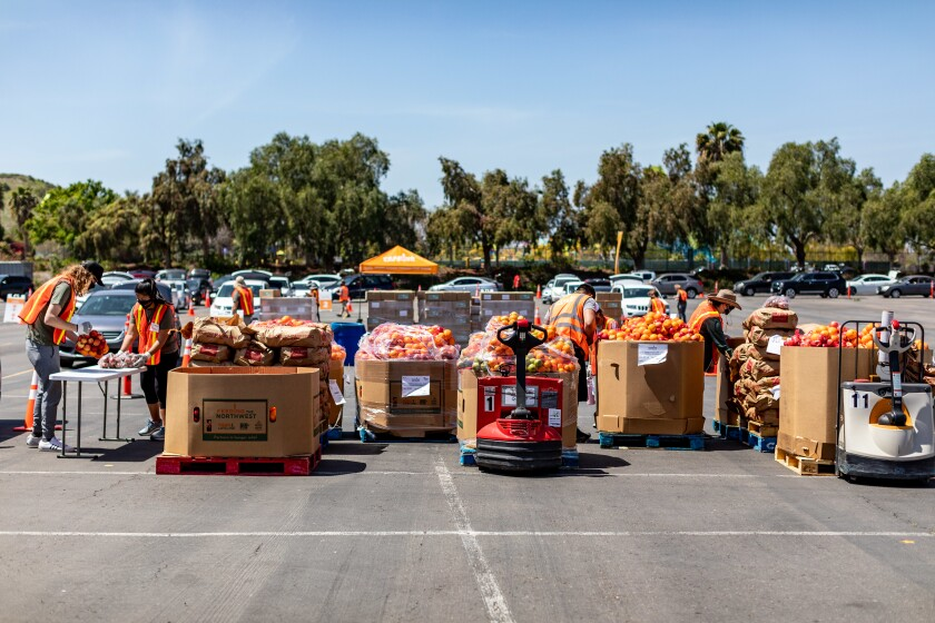 Food give away at the Chula Vista Amphitheater in April 2021.