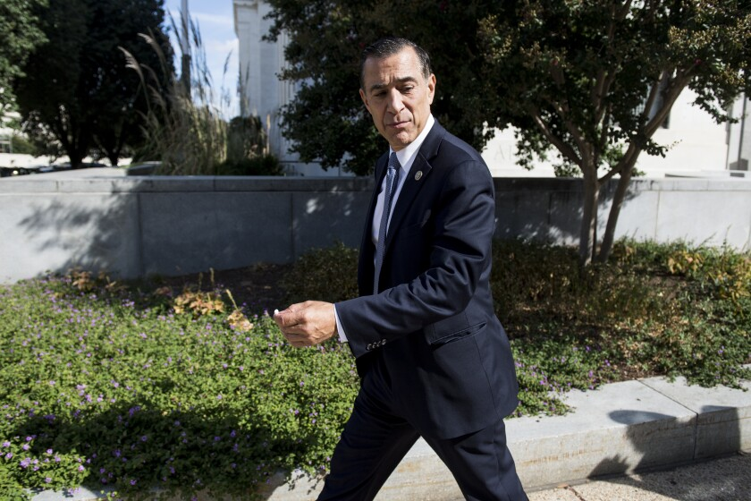 Former Rep. Darrell Issa, R-Vista, nominee to be director of the Trade and Development Agency, leaves the Dirksen Senate Office Building after his confirmation hearing in the Senate Foreign Relations Committee was postponed on Thursday, Sept. 19, 2019.