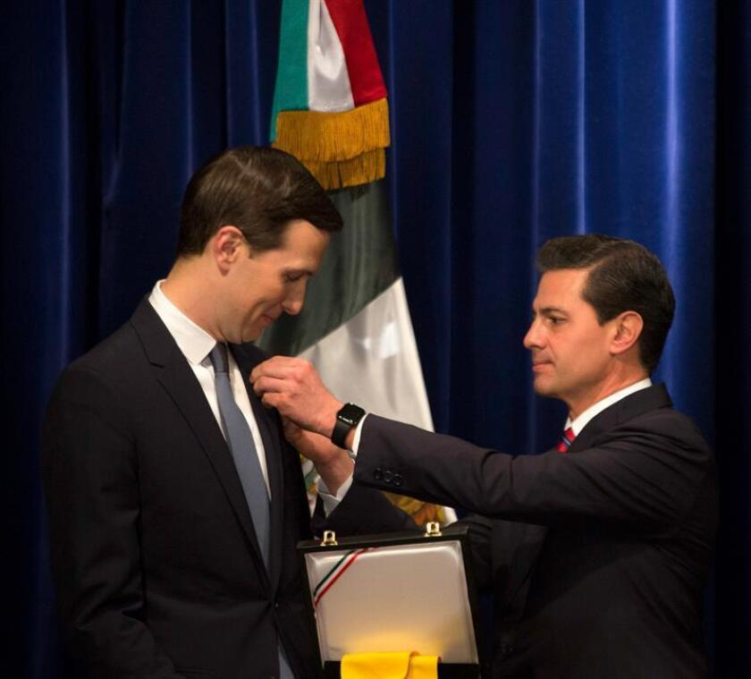 Mexican President Enrique Peña Nieto bestowed the Order of the Aztec Eagle on Kushner during a brief ceremony on the sidelines of the G20 summit. Buenos Aires, Argentina, Nov. 30, 2018. EPA-EFE/Presidency of Mexico/EDITORIAL USE ONLY