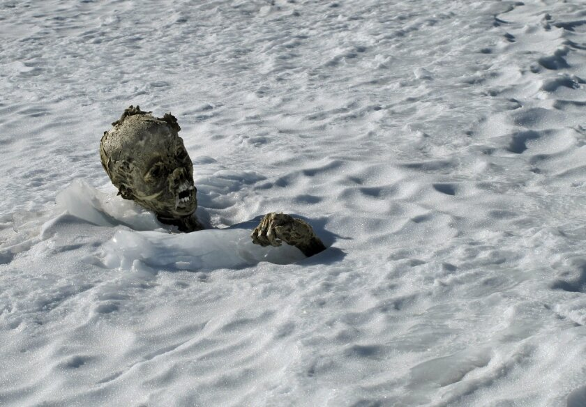 In this Feb. 28, 2015 photo, a mummified frozen body sticks out from the snow in a glacier on the Pico de Orizaba volcano, Mexico's tallest peak. Officials said Friday March 6, 2015, that climbers found a second mummified body and that they may be the remains of climbers missing since a 1959 avalan