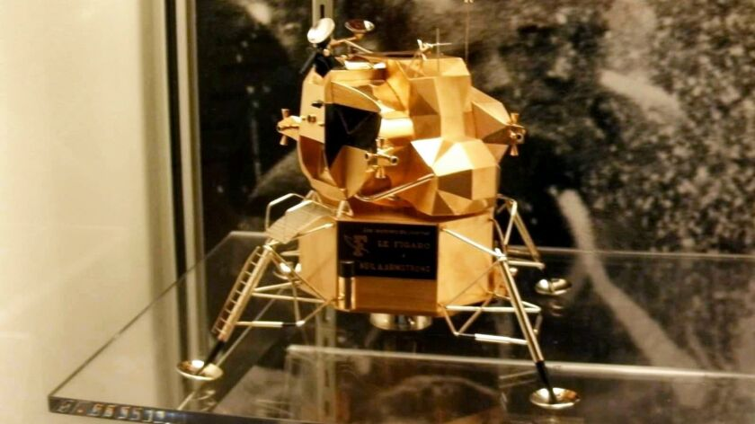 This image provided by Armstrong Air and Space Museum shows a lunar module replica at Armstrong Air