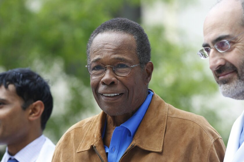 Baseball Hall of Famer Rod Carew thanked doctors and staff at Prebys Cardiovascular Institute in La Jolla.