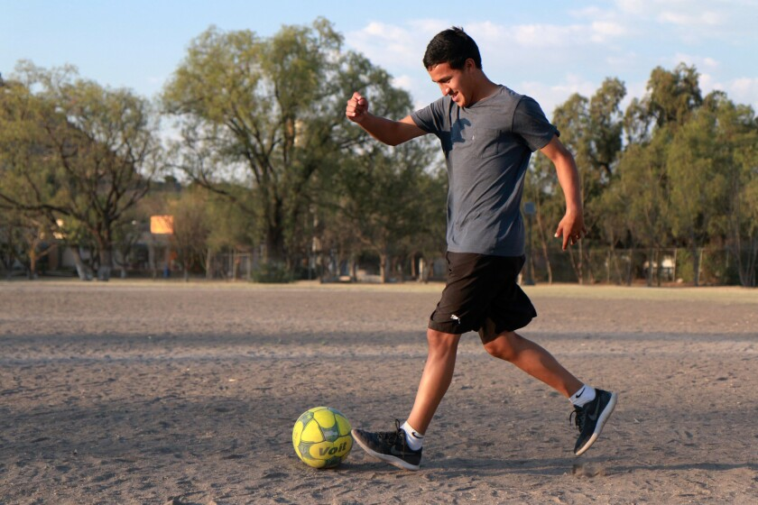 ONE TIME USE - Dany Pulido plays with the ball outside Quer?taro, Mexico on March 28, 2018. (Lauren