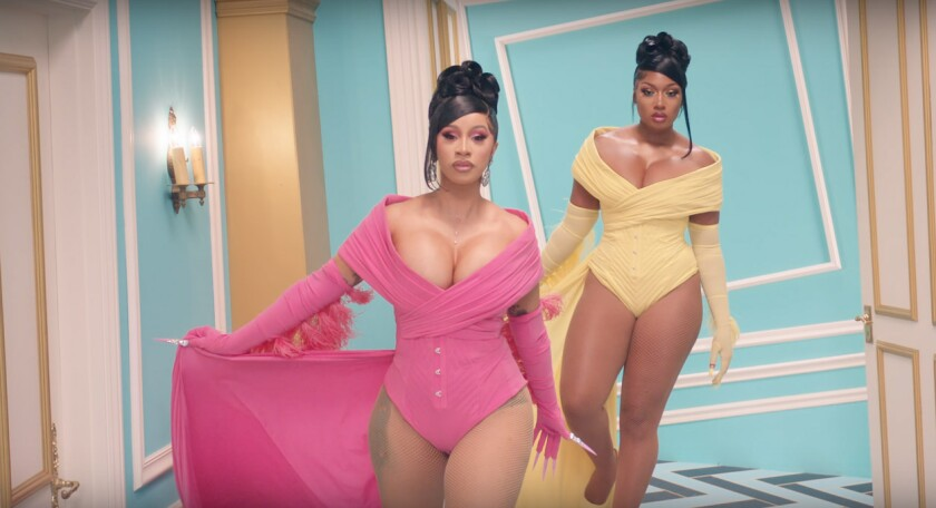 "A still from Cardi B, left, and Megan Thee Stallion's single ""WAP."""