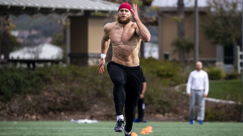 Porter Gustin, preparing for the NFL combine, trains at Lake Forest Sports Park and Recreation on Feb. 20, 2019.