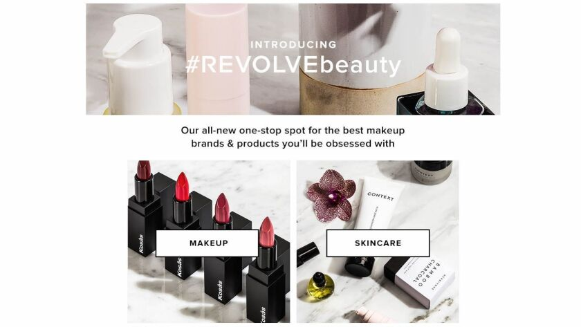 Revolve gets into the beauty business with a dedicated section called #Revolvebeauty.