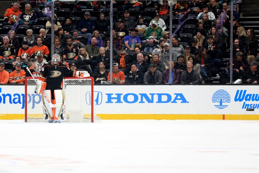 Ducks goaltender John Gibson gave up four goals to the Flames on 16 shots in the first period of a game Feb. 13 at Honda Center.
