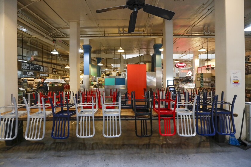 Seats are empty at Grand Central Market