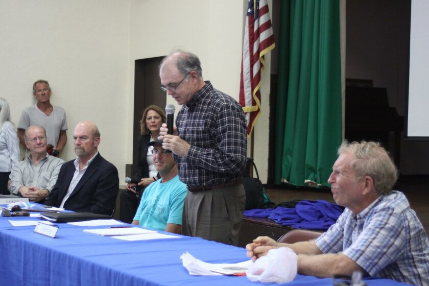With Town Council members listening at left, the speakers panel includes La Jolla Cove Swim Club president Dan Simonelli, La Jolla Parks & Beaches president Dan Allen (standing), diver John Leek and Mayoral Director of Outreach John Lye (not picutred).