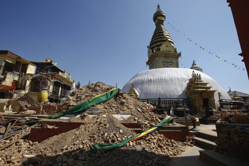 The damaged Nepalese heritage site Syambhunaath Stupa, also known as the Monkey Temple, is shown after last month's deadly earthquake in Nepal. The quake has claimed thousands of lives -- and lots of historic architecture.