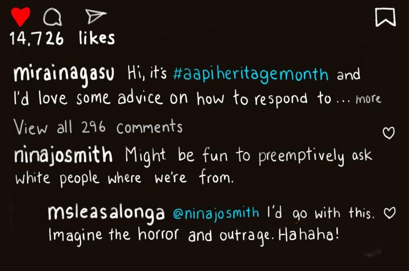 Instagram post of Mirai Nagasu and Lea Salonga talking about microaggressions
