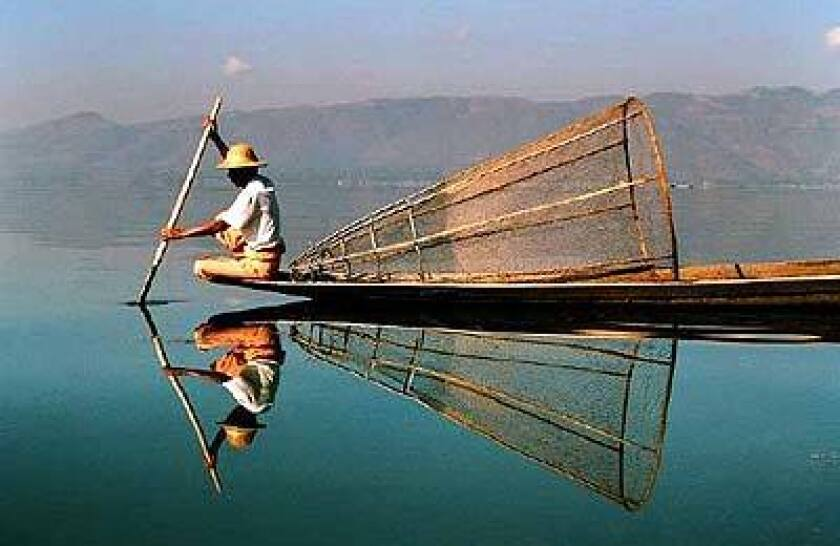 Fishermen use cone bow nets to make their catches. The shallow, clear waters of Inle Lake enable them to see where the fish swim.