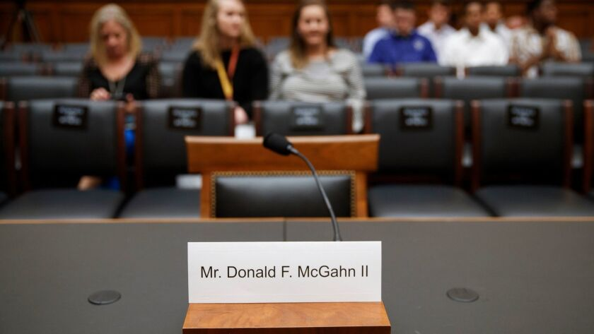 The empty chair of former White House Counsel Donald McGahn prior to the House Judiciary Committee hearing he refused to attend on Tuesday in Washington.