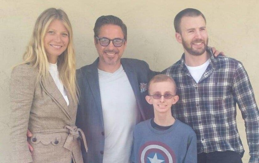 Actors Gwyneth Paltrow, Robert Downey Jr. and Chris Evans made a surprise visit Monday to the home of Marvel Comics superfan Ryan Wilcox, a Fletcher Hills teenager battling leukemia. Photo courtesy of Wilcox family