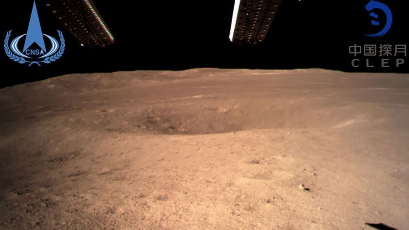 An image taken by the Chang'e-4 probe shows the far side of the moon.