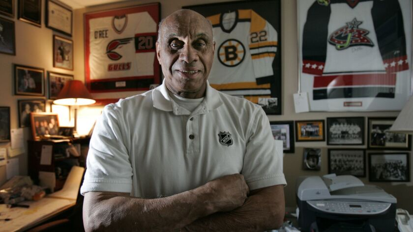 Willie O'Ree, pictured in 2008 at his home in La Mesa, is headed to the Hockey Hall of Fame.