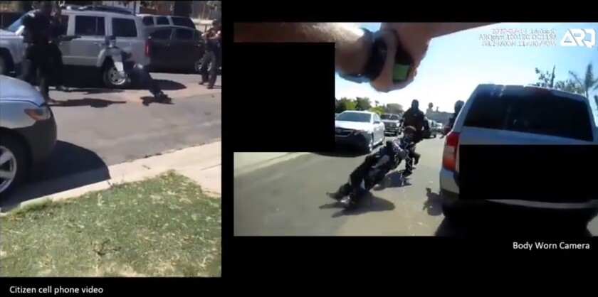 Footage provided by Oceanside police shows two angles of an officer using a stun gun to subdue a carjacking suspect.