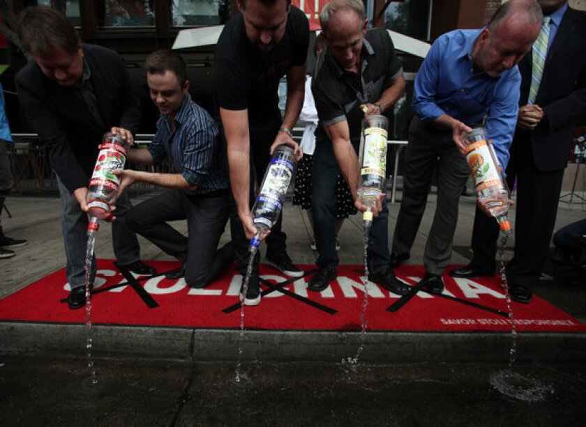 A symbolic gesture to #dumpstoli in West Hollywood earlier this week, the launch of a boycott against Stolichnaya vodka in protest of a new Russian law targeting gays. Latvian gay rights activists pointed out Friday that Stoli is made in Latvia and owned by a Luxembourg commercial group.