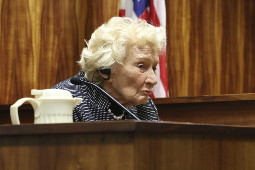 FILE - In this March 9, 2020, file photo, Abigail Kawananakoa, a Native Hawaiian heiress, testifies in court in Honolulu. A judge is expected to consider Tuesday, June 9, 2020, who will become the conservator for the 94-year-old heiress whose $215-million fortune is tied up in a legal battle. (AP Photo/Jennifer Sinco Kelleher, File)