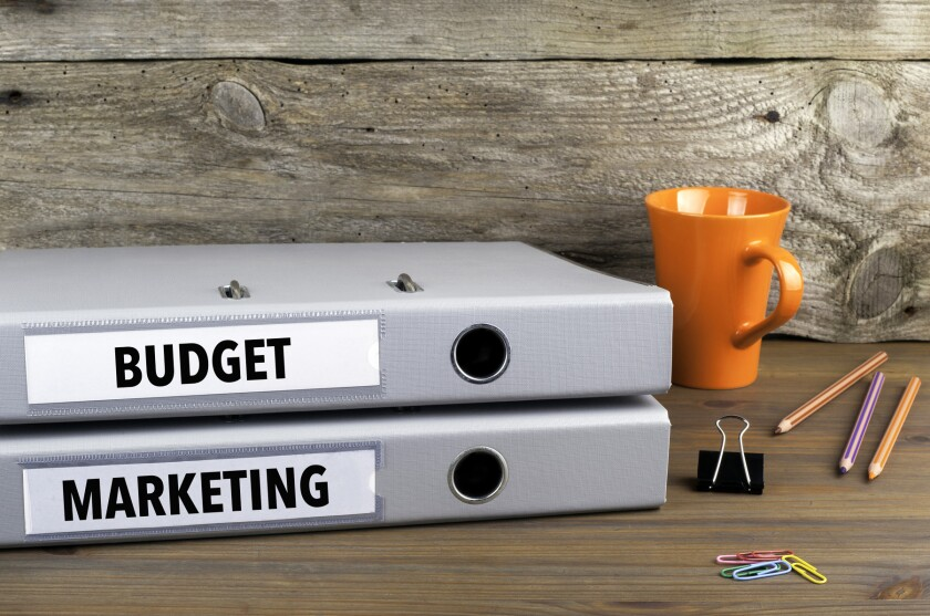 Budget and Marketing - two folders on wooden office desk