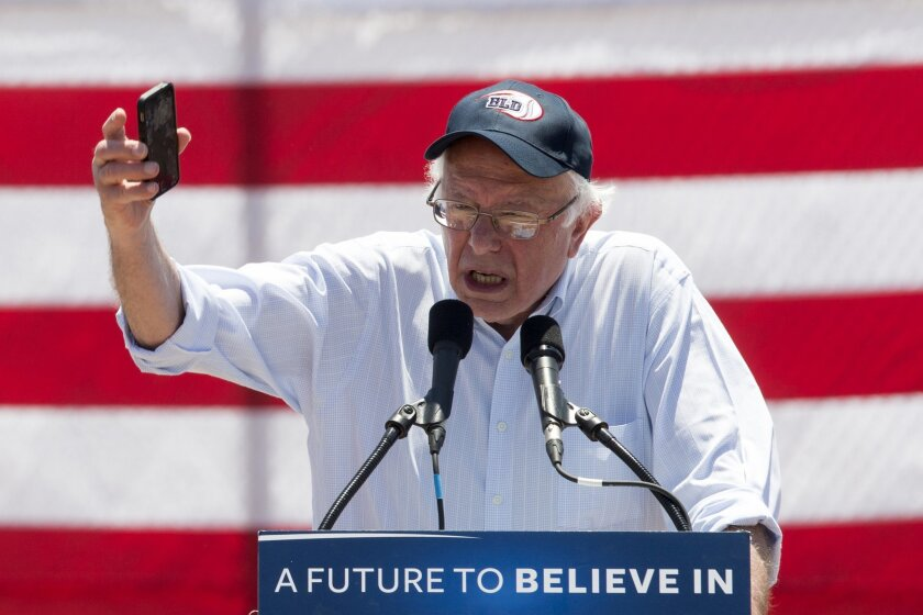 Democratic presidential candidate Sen. Bernie Sanders, I-Vt., speaks during a campaign rally in Cathedral City, Calif., Wednesday, May 25, 2016. (AP Photo/Damian Dovarganes)