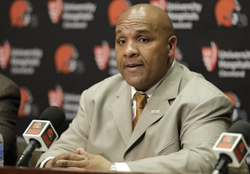 Former Glendale Community College quarterback Hue Jackson was named head coach of the Cleveland Browns on Wednesday. (AP Photo/Tony Dejak)