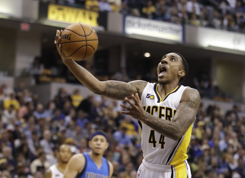 Pacers point guard Jeff Teague puts up a shot during the second half of a game against the Dallas Mavericks on Oct. 26.