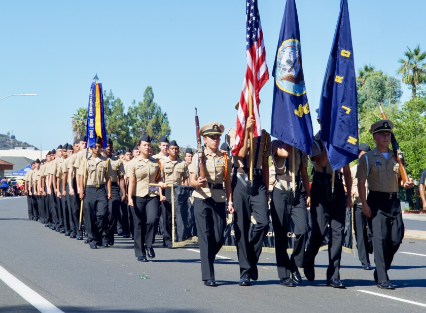 The Westview High School Navy Junior ROTC color guard and members in the 2019 Poway Rotary Parade.