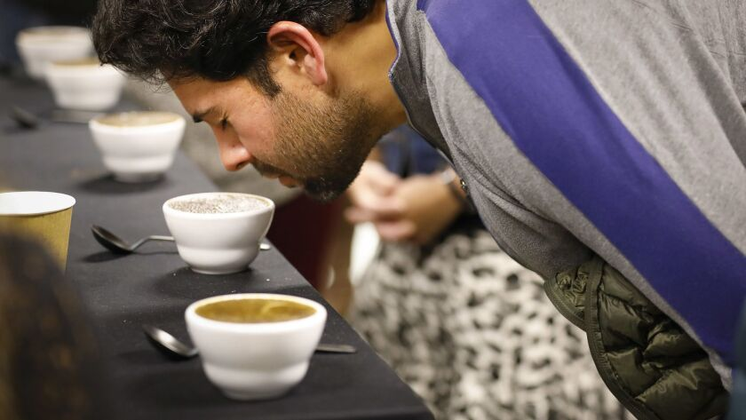 SAN DIEGO, CA 3/9/2019: Alex Holsheimer of Fallbrook takes in the smell of California grown coffee f