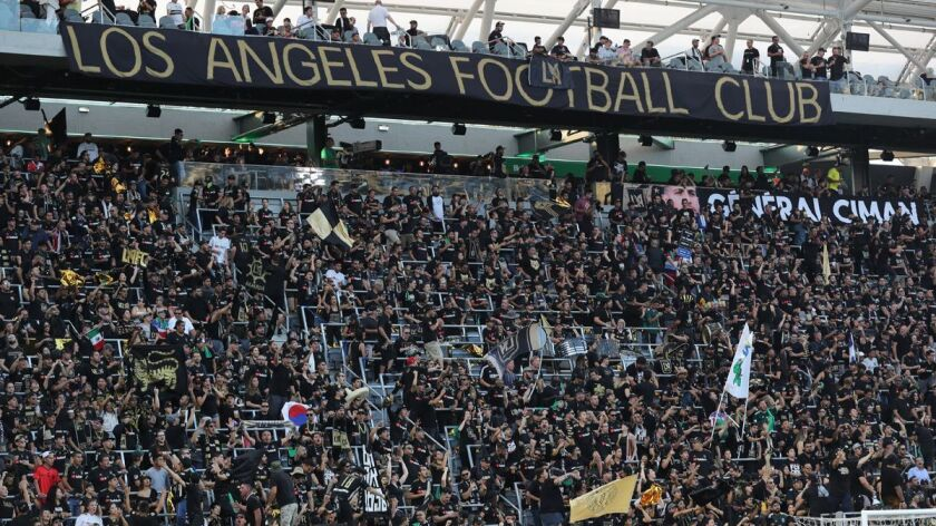 LOS ANGELES, CALIF. -- THURSDAY, JULY 26, 2018: Los Angeles Football Club fans rally with their to