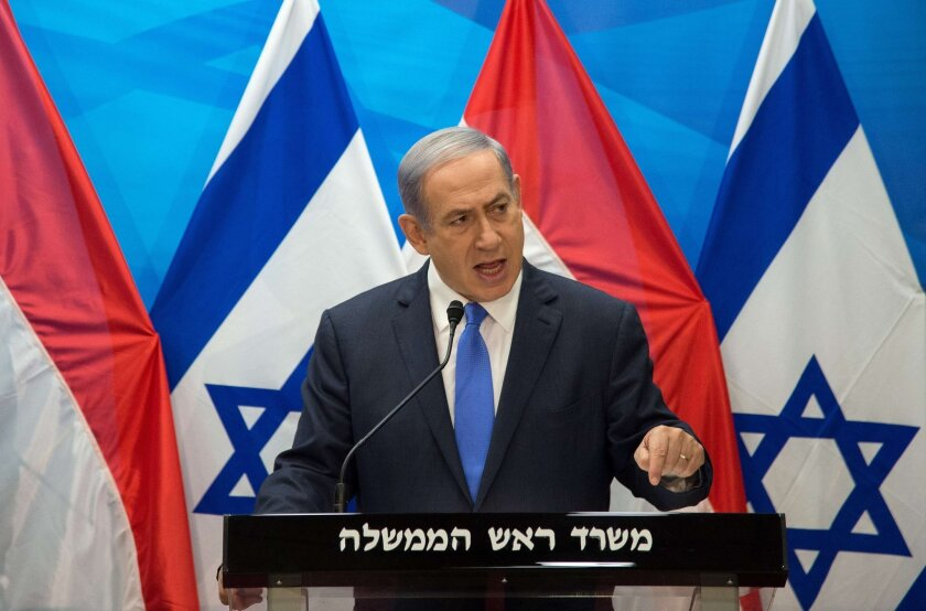 Israel's Prime Minister Benjamin Netanyahu speaks during a news conference in Jerusalem in 2015.