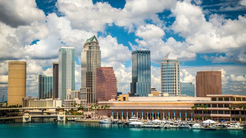 Southwest is offering a $308 round-trip fare from LAX to Tampa, Fla., whose skyline is pictured here, for late summer and early fall travel.