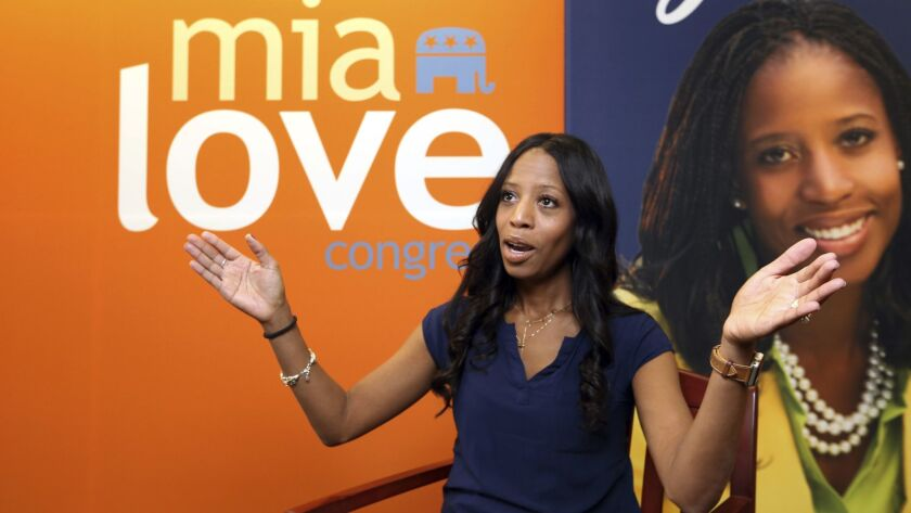 Rep. Mia Love, the only black Republican woman in Congress, speaks during an interview in September in Murray, Utah.