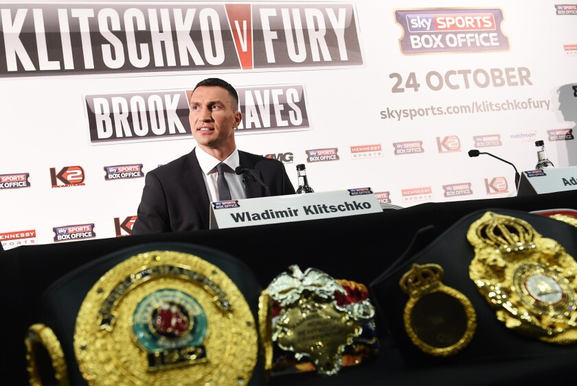 World heavyweight champion Wladimir Klitschko speaks at a news conference in London on Sept. 23 ahead of his bout with Tyson Fury in Germany on Oct. 24.