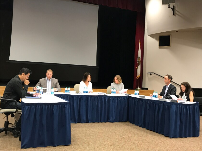 The Rancho Santa Fe School board at its Aug. 8 meeting.