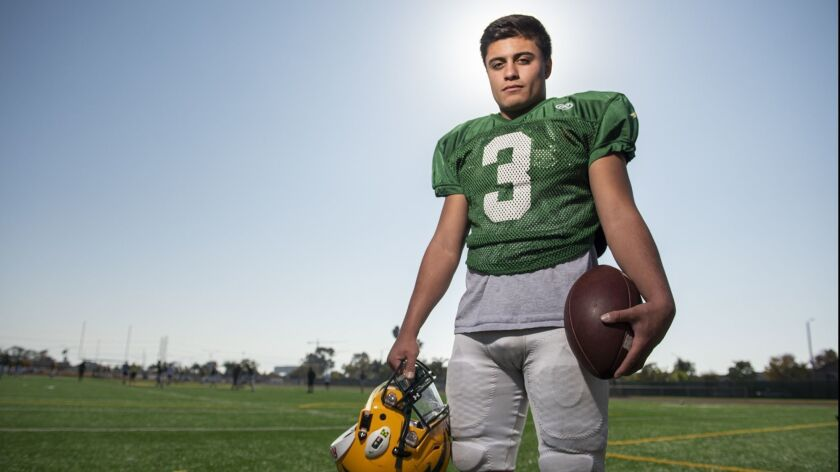 Edison's Kobe Lopez is the Daily Pilot High School Football Player of the Week. Photo taken on Monda