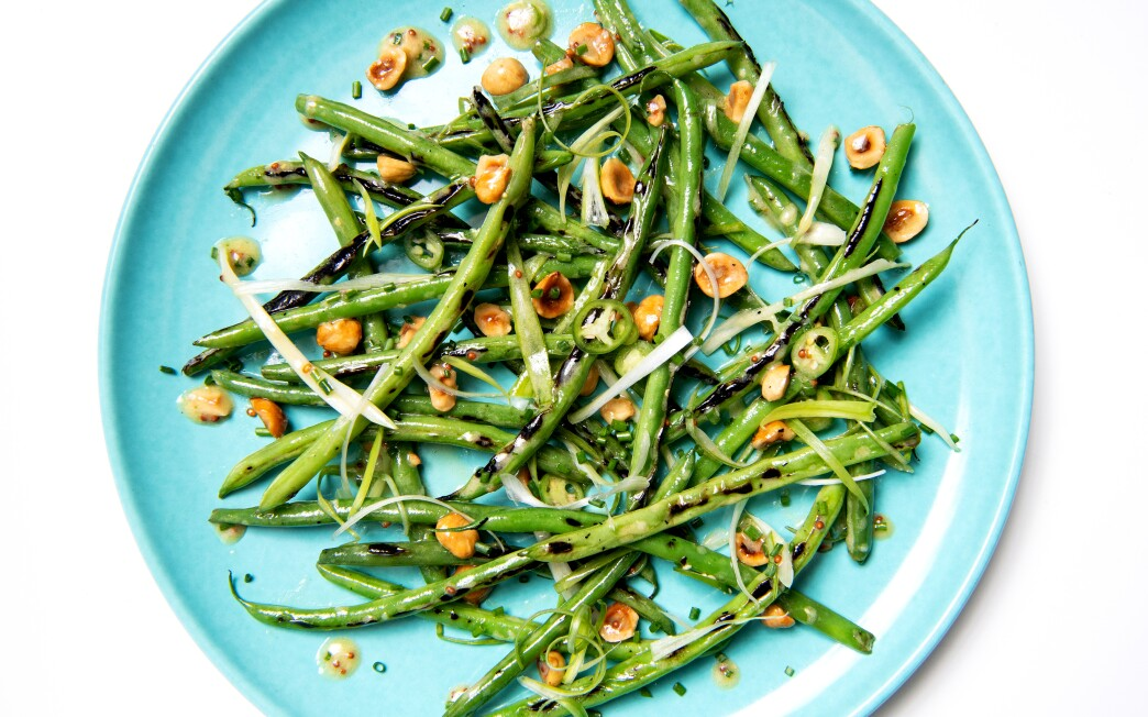 Charred Green Beans with Hazelnuts and Serrano Chile