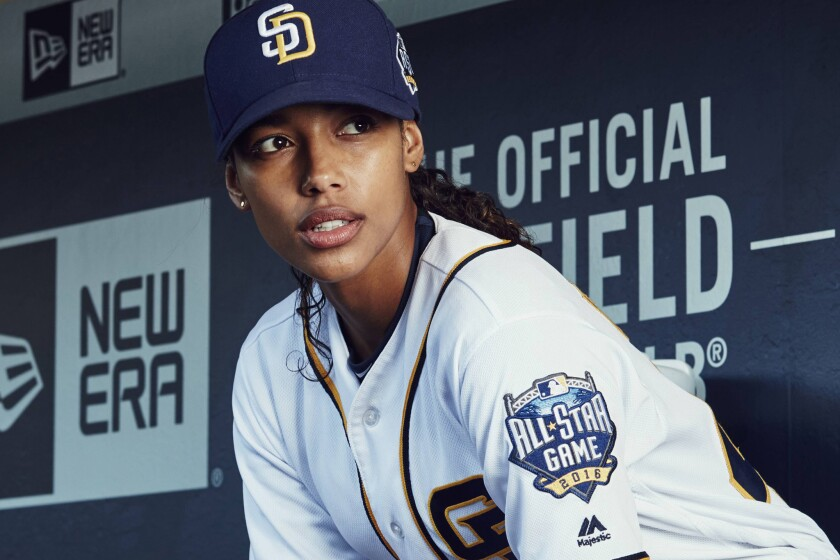 """Kylie Bunbury stars in Fox's """"Pitch"""" as the fictional Ginny Baker, the first woman to play on a Major League Baseball team."""