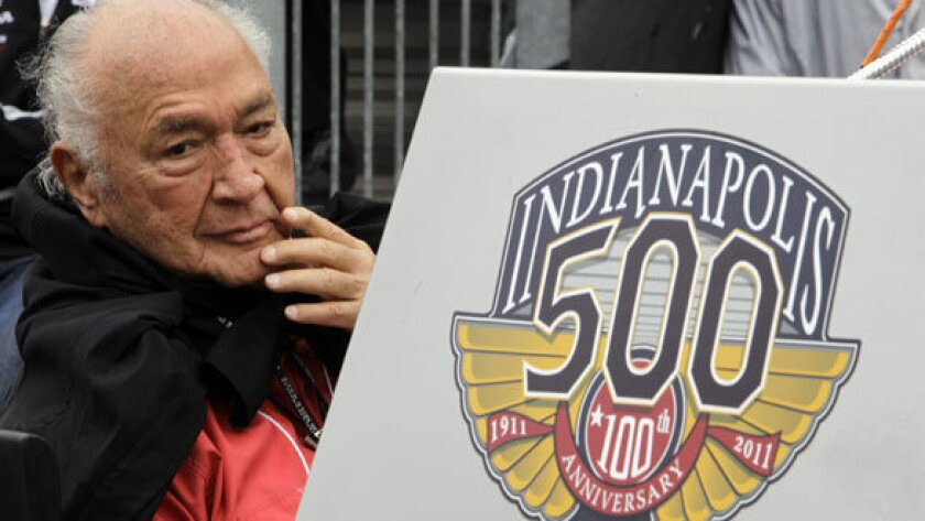 Indy 500 legend Andy Granatelli looks on during the drivers' meeting for the Indianapolis 500 auto race at the Indianapolis Motor Speedway in Indianapolis. Granatelli, the former CEO of STP motor oil company who made a mark on motorsports as a car owner, innovator and entrepreneur, died Sunday.