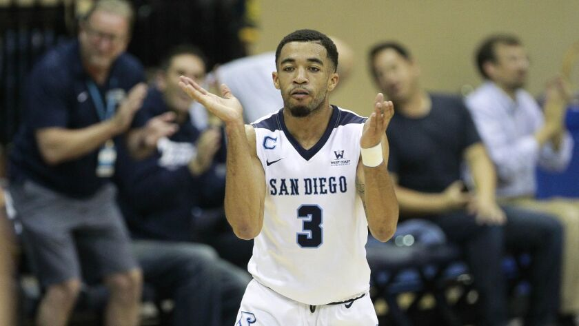 SAN DIEGO, December 30, 2017 | USD's Olin Carter III claps his hands after he scored a three-point s